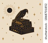 crow and magic book... | Shutterstock .eps vector #1868701852
