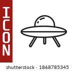 Black Line Ufo Flying Spaceship ...