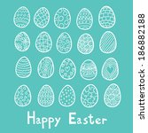 happy easter eggs blue... | Shutterstock . vector #186882188