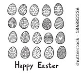 happy easter eggs background.... | Shutterstock . vector #186882236