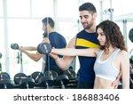 beautiful young woman working... | Shutterstock . vector #186883406