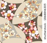 pink and yellow vector flowers... | Shutterstock .eps vector #1868846305