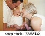 portrait of young parents... | Shutterstock . vector #186885182