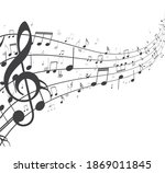 colorful music notes background ... | Shutterstock . vector #1869011845