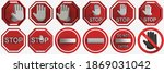 set of warning signs.  3d...   Shutterstock . vector #1869031042