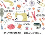 set of sewing accessories.... | Shutterstock .eps vector #1869034882