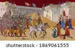 medieval scene. soldiers of the ... | Shutterstock .eps vector #1869061555