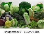 Many Cabbages Isolated On Whit...