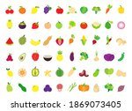 fruits and vegetables flat icon ... | Shutterstock .eps vector #1869073405