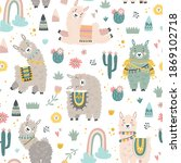seamless pattern with llama ... | Shutterstock .eps vector #1869102718