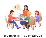 children study on french lesson ... | Shutterstock .eps vector #1869120235
