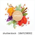 Spices And Herbs Emblem...