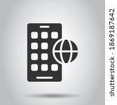 globe smartphone icon in flat...