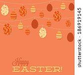 string of retro easter eggs in...   Shutterstock .eps vector #186919145