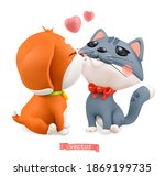puppy and kitten. valentine's... | Shutterstock .eps vector #1869199735
