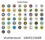 set coat of arms of the states... | Shutterstock .eps vector #1869215608