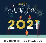 happy new year 2021 greeting... | Shutterstock .eps vector #1869223708