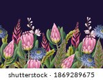 border with proteas flowers....   Shutterstock .eps vector #1869289675