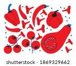 fresh tomato  pepper  mushrooms ... | Shutterstock .eps vector #1869329662