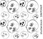 Skulls seamless pattern in grayscale over white background - stock vector