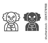 Evil Clown Line And Solid Icon  ...