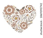 Floral Heart With Hand Drawn...