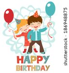 birthday card with happy kids... | Shutterstock .eps vector #186948875