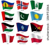 set  flags of world sovereign... | Shutterstock .eps vector #186951866