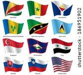 set  flags of world sovereign... | Shutterstock .eps vector #186951902