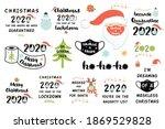 quarantine christmas 2020 set.... | Shutterstock .eps vector #1869529828