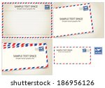 air mail  postal stamp and... | Shutterstock .eps vector #186956126