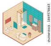 bathroom in isometric style....   Shutterstock .eps vector #1869578665