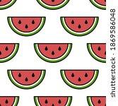 vector seamless watermelon... | Shutterstock .eps vector #1869586048