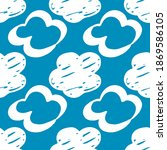 seamless drawn cloud pattern.... | Shutterstock .eps vector #1869586105