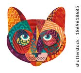 colorful cat illustration. flat ...   Shutterstock .eps vector #1869618685