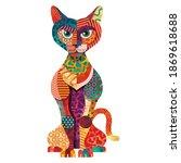 colorful cat illustration. flat ...   Shutterstock .eps vector #1869618688