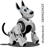 dog steampunk robot. unusual... | Shutterstock .eps vector #1869623425
