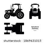 black silhouette of tractor.... | Shutterstock . vector #1869631015