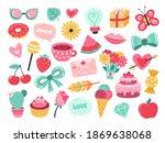 romantic planner stickers. love ... | Shutterstock .eps vector #1869638068
