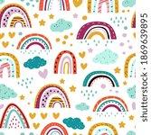 scandinavian rainbow pattern....   Shutterstock .eps vector #1869639895