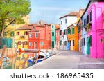 colorful houses by the water... | Shutterstock . vector #186965435