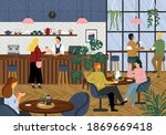 morning coffee in cafe concept... | Shutterstock .eps vector #1869669418