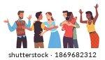 young men  women friends... | Shutterstock .eps vector #1869682312