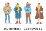 man  woman casual winter cold...   Shutterstock .eps vector #1869690862
