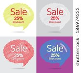 colorful set of 25 percent...   Shutterstock .eps vector #186974222