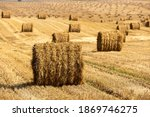 Bales Of Straw Background With...