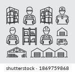 retail trade warehouse worker...   Shutterstock .eps vector #1869759868