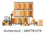 warehouse shelves with goods ...   Shutterstock .eps vector #1869781378