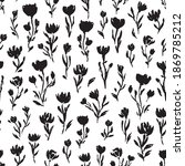 floral vector pattern with hand ...   Shutterstock .eps vector #1869785212