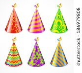 set of colorful party hats with ... | Shutterstock .eps vector #186979808